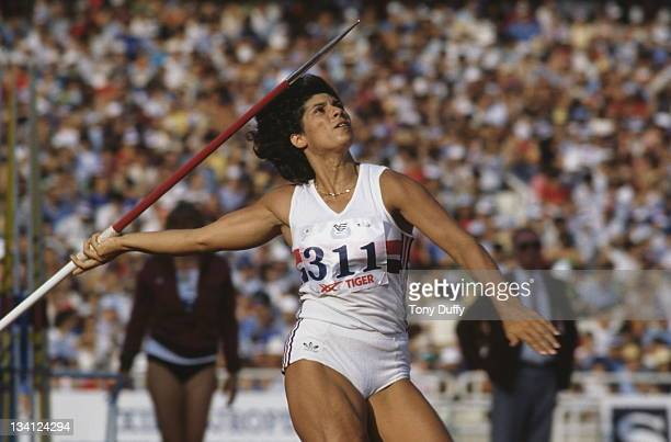 Fatima Whitbread of Great Britain throws the javelin during 13th European Athletics Championships on 9th September 1982 at Olympic Stadium in Athens...