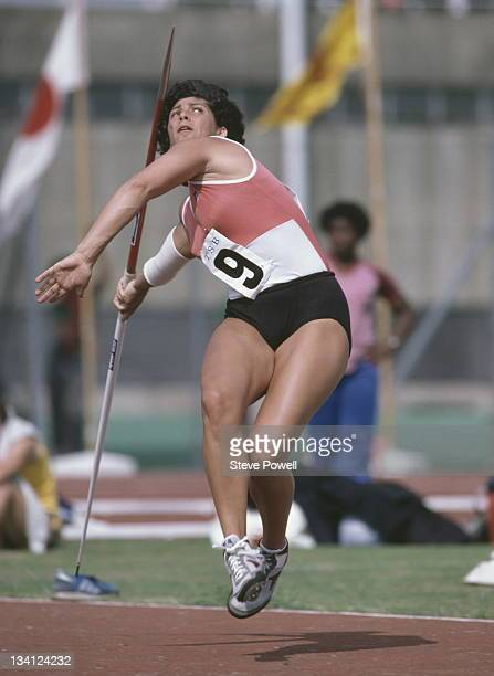 Fatima Whitbread of Great Britain throws the javelin during event on 1st June 1982 at the Crystal Palace in London Great Britain