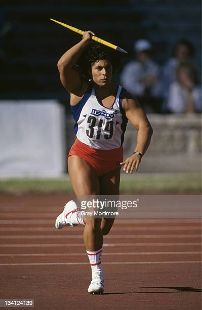 Fatima Whitbread of Great Britain throws the javelin during Mazda IAAF Athletics Grand Prix on 11th June 1988 in Leningrad Russia