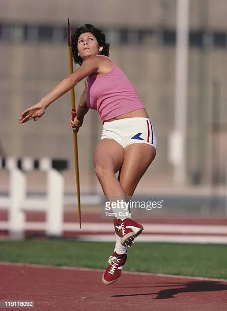 Fatima Whitbread of Great Britain throws the javelin during training on 1st September 1977 at the Crystal Palace in London Great Britain