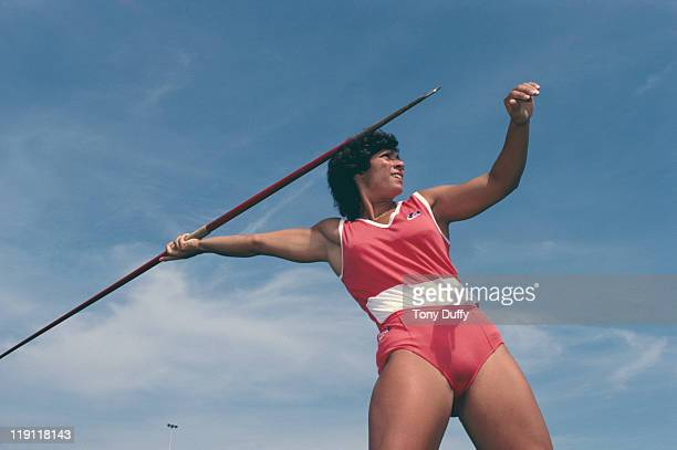 Fatima Whitbread of Great Britain throws the javelin during training on 1st June 1982 at the Crystal Palace in London Great Britain