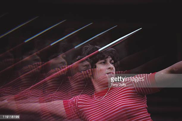 Fatima Whitbread of Great Britain throws the javelin during training on 1st June 1981 at the Crystal Palace in London Great Britain