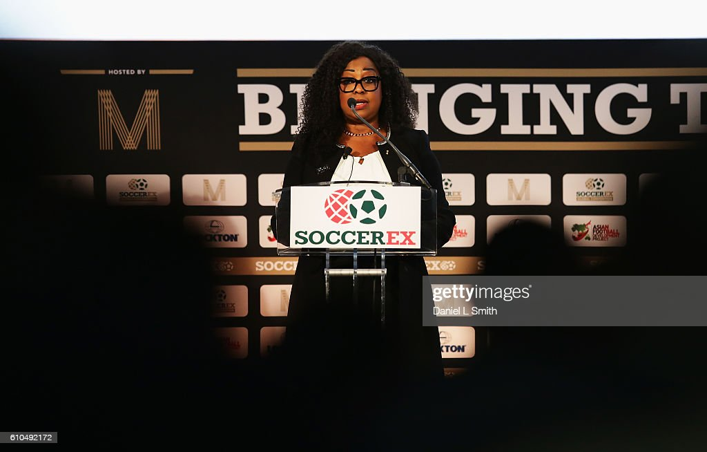 Fatma Samba Diouf Samoura, FIFA Secretary General talks during day 1 of the Soccerex Global Convention 2016 at Manchester Central Convention Complex on September 26, 2016 in Manchester, England.