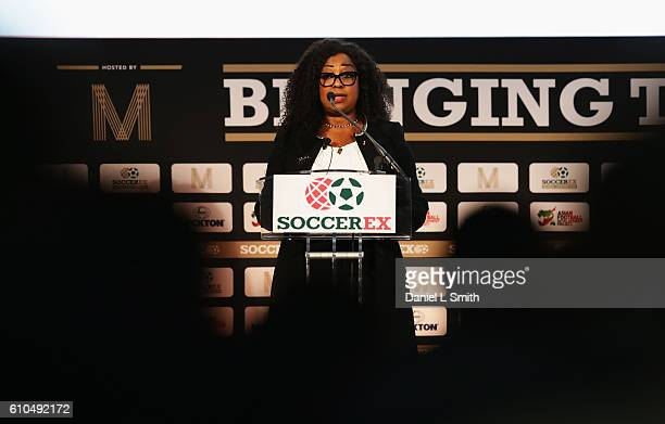 Fatma Samba Diouf Samoura, FIFA Secretary General talks during day 1 of the Soccerex Global Convention 2016 at Manchester Central Convention Complex...