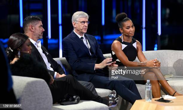 Fatma Samoura, Secretary General of FIFA, Pascal Zuberbuehler, Arsene Wenger and Laura Georges are seen in the studio during the The Best FIFA...