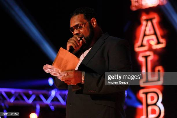 Fatman Scoop speaks on stage at the MOBO Awards at First Direct Arena Leeds on November 29 2017 in Leeds England