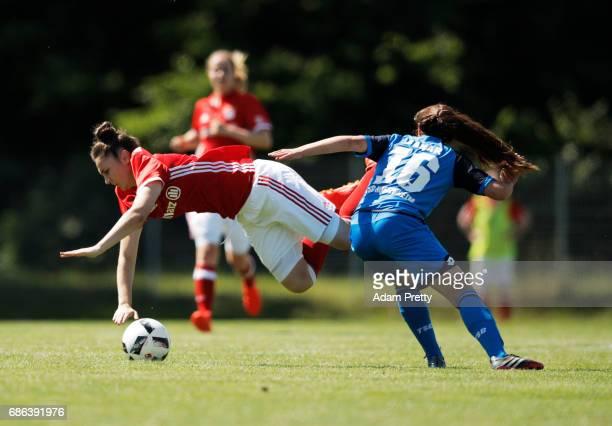 Fatmar Sakar of Hoffenheim II challenges Ivana Slipcevic of FC Bayern Munich II during the match between 1899 Hoffenheim II and FCB Muenchen II at St...