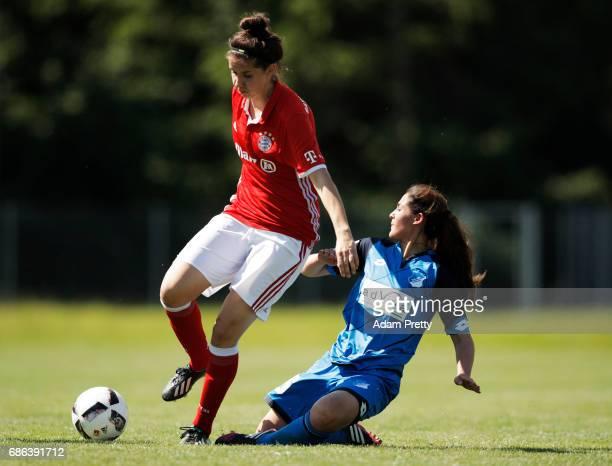 Fatmar Sakar of Hoffenheim II challenges Melanie Kuenrath of FC Bayern Munich II during the match between 1899 Hoffenheim II and FCB Muenchen II at...