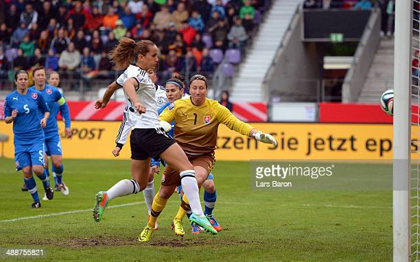 Fatmire Alushi of Grmany scores his teams first goal during the FIFA Women's World Cup 2015 Qualifier between Germany and Slovakia at Osnatel Arena...