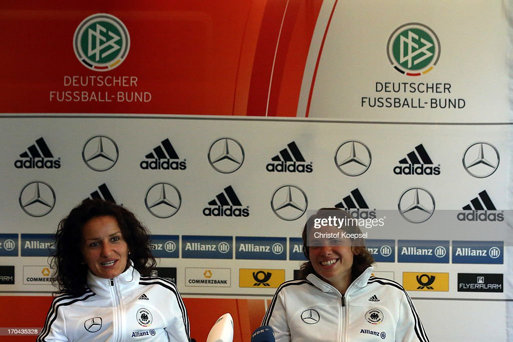 Fatmire Bajramaj and Annike Krahn attend the press conference of Women's Team Germany at Shearton Hotel on June 13, 2013 in Essen, Germany.