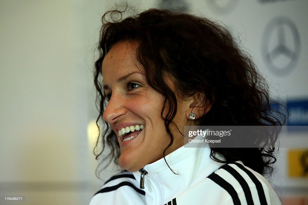 Fatmire Bajramaj attends the press conference of Women's Team Germany at Shearton Hotel on June 13, 2013 in Essen, Germany.
