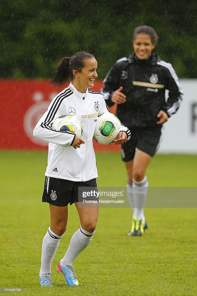 Fatmire Bajramaj looks on during the German women's national team training session at HVB Club Sportzentrum on June 24, 2013 in Munich, Germany.