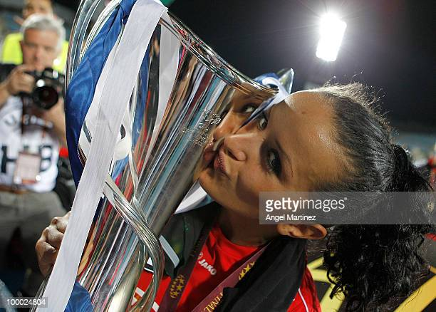 Fatmire Bajramaj of FFC Turbine kisses the trophy after wining the UEFA Women's Champions League Final match between Olympique Lyonnais and FFC...