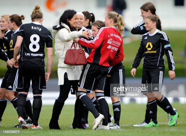 Fatmire Bajramaj of Frankfurt celebrates with her team mates after winning the UEFA Women's Champions League Semi Final match between 1.FFC Frankfurt...