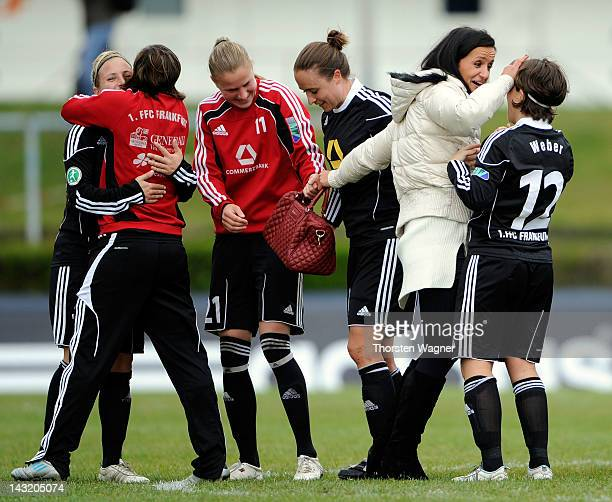 Fatmire Bajramaj of Frankfurt celebrates with her team mates after winning the UEFA Women's Champions League Semi Final match between 1FFC Frankfurt...