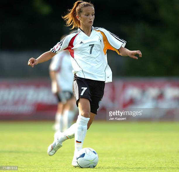 Fatmire Bajramaj of Germany in action during the Women's U19 European Championship Semi Final between Germany and Russia at Stadium Neufeld on July...