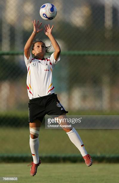 Fatmire Bajramaj plays the ball like a volleyball player during the Women's German National Team training session on the training ground at the Wuhan...