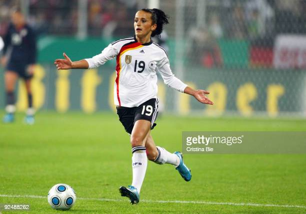 Fatmire Lira Bajramaj of Germany runs with the ball during the Women's International friendly match between Germany and USA at the Impuls Arena on...