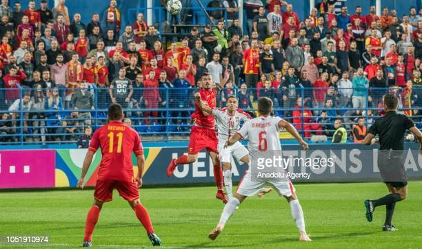 Fatos Beciraj of Montenegro in action during the UEFA Nations League Group 4 of League C soccer match between Montenegro and Serbia at City Stadium...