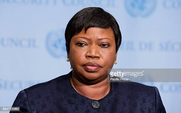 Fatou Bensouda Prosecutor of the International Criminal Court speaks to journalists after briefing the Security Council at its meeting on the...