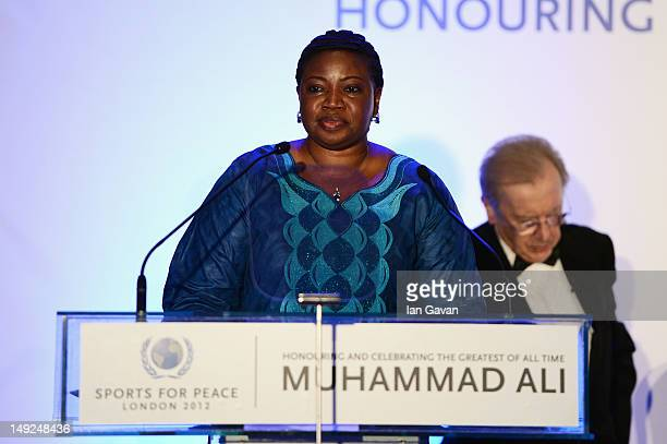 Fatou Bensouda speaks at the Sports For Peace Fundraising Ball at The VA on July 25 2012 in London England