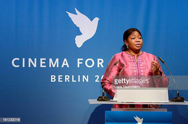 Fatou Bensouda speaks onstage during the Cinema For Peace Gala 2013 during the 63rd Berlinale International Film Festival at the Waldorf Astoria...