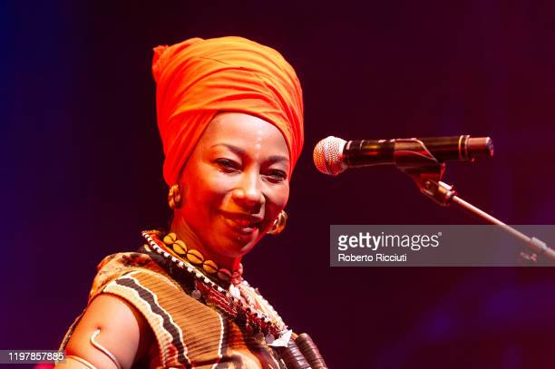 Fatoumata Diawara performs at Tramway Glasgow during Celtic Connections 2020 on January 31 2020 in Glasgow Scotland