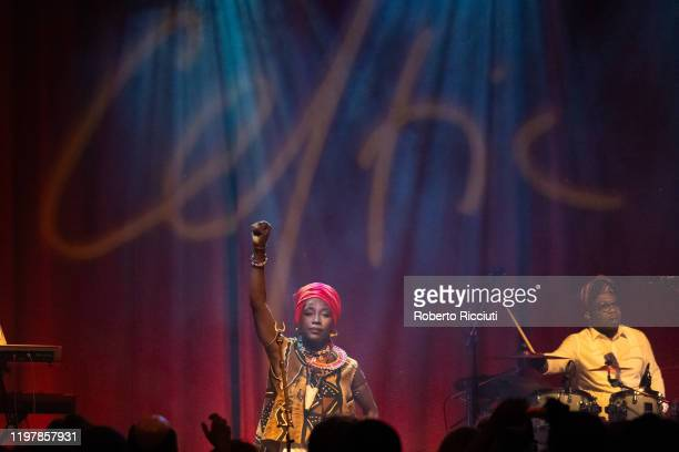 Fatoumata Diawara performs at Tramway Glasgow during Celtic Connections 2020 on January 31, 2020 in Glasgow, Scotland.