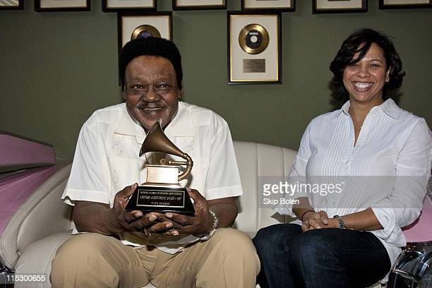 Fats Domino accepts his Grammy Lifetime Achievement Award presented by the Recording Academy's Angelia BibbsSanders at a ceremony to replace Lifetime...