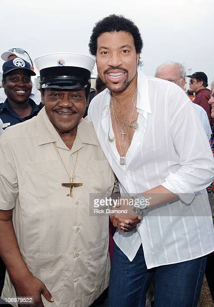 Fats Domino and Lionel Richie EXCLUSIVE during 37th Annual New Orleans Jazz Heritage Festival Presented by Shell Backstage May 7 2006 at New Orleans...