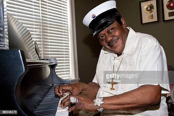 Fats Domino plays his piano at a ceremony to replace Lifetime Achievement Award lost in Hurricane Katrina at Private Residence on May 1 2009 in New...