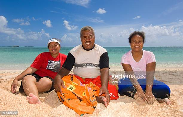 Fatther & Daughter & relative on the beach