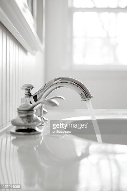 Faucet in a white bathroom