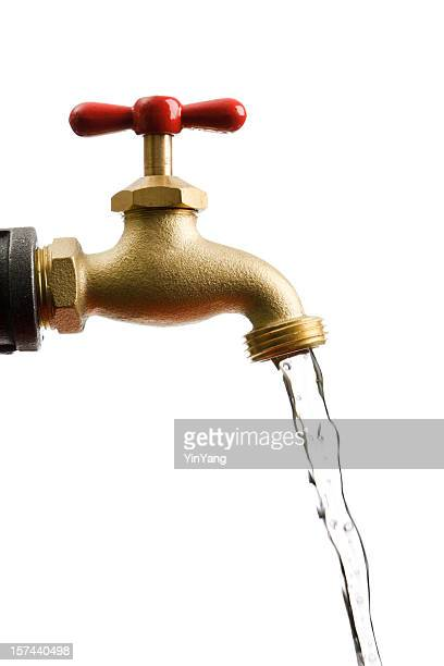 Faucet Pipe with Running Flowing Water Isolated on White Background