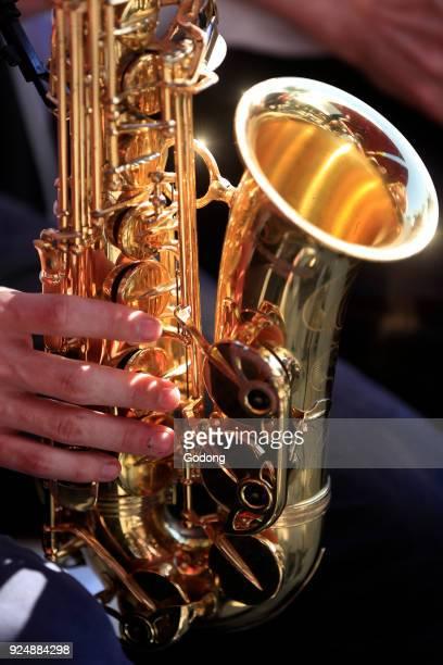 Faucigny music festival Brass band musicians Saxophone SaintGervais France
