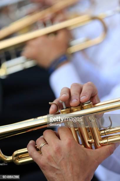Faucigny music festival Brass band musicians Trumpet SaintGervais France