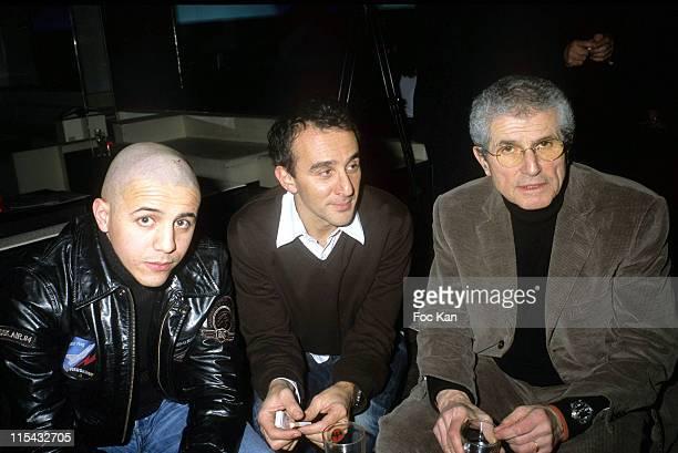 Faudel Elie Semoun and Claude Lelouch during Paris Menswear Fall/Winter 2006/07 Carnet de Vol Show Party at VIP Room in Paris France