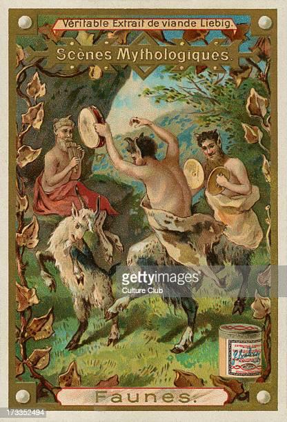 Faun/Faunes half human/half goat forest god Liebig card Mythological Scenes 1896