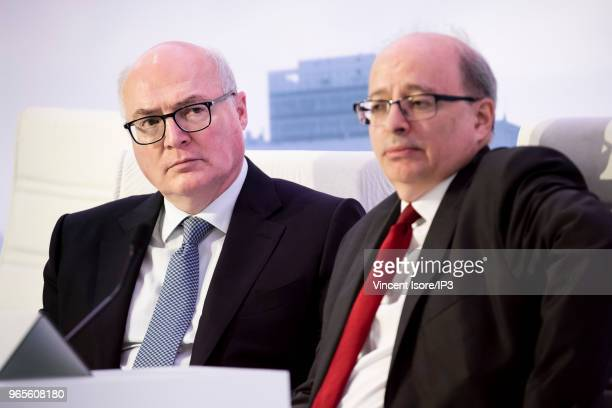 Faurecia CFO Michel Favre Faurecia CEO Patrick Koller attend the French auto parts maker Faurecia general shareholders meeting on May 30 2018 in...