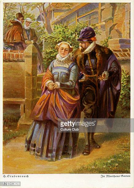 Faust by Johann Wolfgang von Goethe German writer and philosopher 28 August 1749 – 22 March 1832 Illustration of Faust with Gretchen in Martha's...