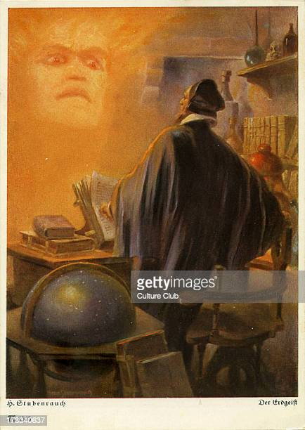 Faust by Johann Wolfgang von Goethe German writer and philosopher 28 August 1749 – 22 March 1832 Illustration of the Spirit of the Earth appearing...