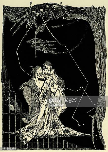 Faust Faust by Johann Wolfgang von Goethe Illustration by Harry Clarke Caption reads 'Does not Death lurk without' HC Irish stained glass artist and...