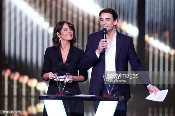 Faustine Bollaert and Julian Bugier attend the 35th 'Les Victoires De La Musique' Show At La Seine Musicale on February 14 2020 in...