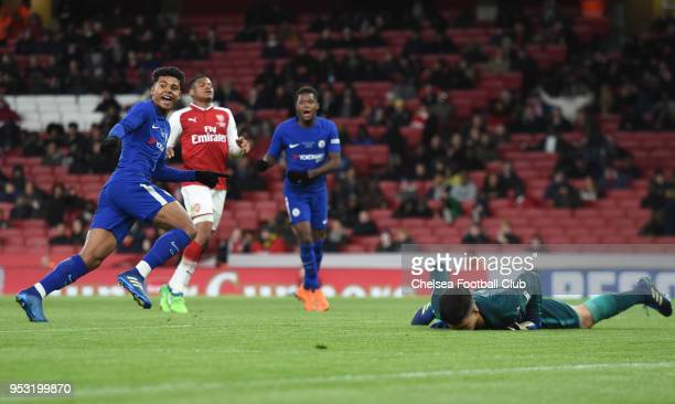 Faustino Aniorin of Chelsea scores the third goal during the Arsenal v Chelsea FA Youth Cup Final Second Leg at Emirates Stadium on April 30 2018 in...