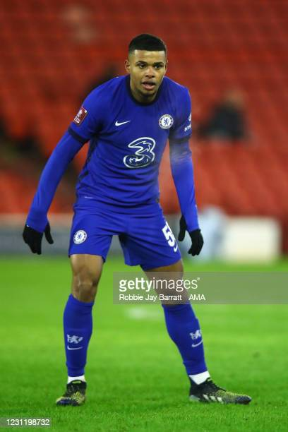 Faustino Anjorin of Chelsea during The Emirates FA Cup Fifth Round match between Barnsley and Chelsea at Oakwell Stadium on February 11, 2021 in...