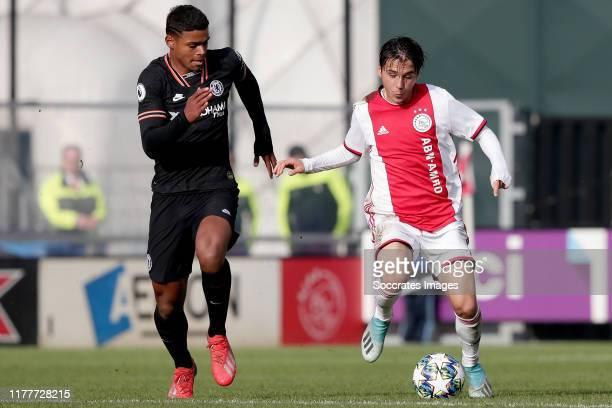 Faustino Anjorin of Chelsea U19 Filip Frei of Ajax U19 during the match between Ajax U19 v Chelsea U19 at the De Toekomst on October 23 2019 in...