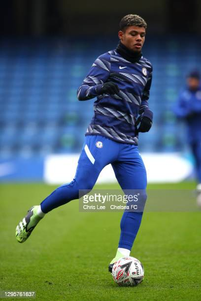 Faustino Anjorin of Chelsea warming up during the FA Cup Third Round match between Chelsea and Morecambe at Stamford Bridge on January 10, 2021 in...