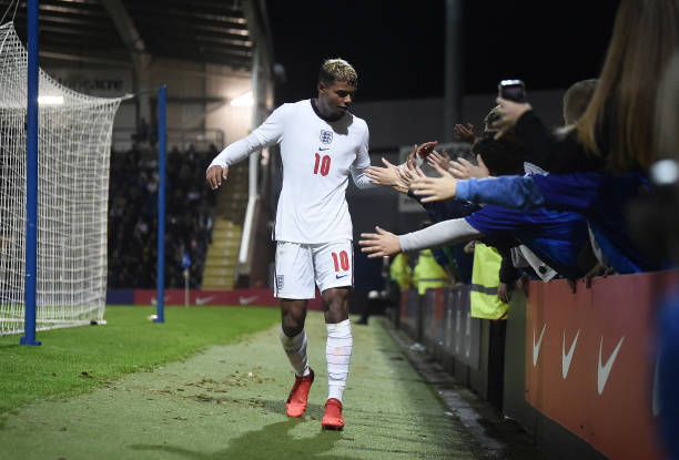 Faustino Anjorin of England reacts with fans as he leaves the pitch after being substituted during the U20 International match between England U20...