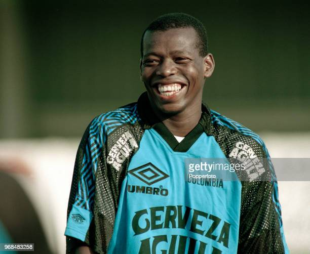 Faustino Asprilla of Colombia during a training session before the International Friendly between England and Colombia at Wembley Stadium on...