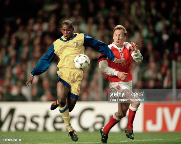 Faustino Asprilla of Parma and Lee Dixon of Arsenal battle for the ball during the 1994 European Cup Winners Cup Final at the Parken Stadion on May 4...